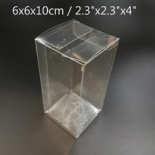 """2.3""""x2.3""""x4"""" Bomboniere Favour Boxes Fold Up Wedding Clear Plastic Packaging"""