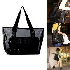 Large Nylon Mesh Tote Transparent Beach Bag Shopping Grocery Shoulder Handbag