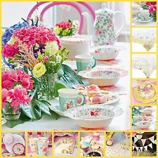 TRULY SCRUMPTIOUS FLORAL VINTAGE TEA PARTY DECORATIONS PLATES CUPS BOWLS BUNTING