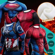 Winter Warm Mens Superhero Marvel Cycling Costume Long Sleeve Bicycle Top Jersey