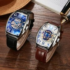 Mens Black Brown Leather Roman Skeleton Wrist Automatic Watch Mechanical Sport