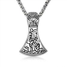 Charming Chic Stainless Steel Men's Jewelry Silver Hammer Axe Necklace Pendant