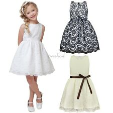 Baby Kid Flower Girl Dress Vintage Sleeveless Princess Party Lace Floral Dress