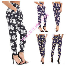 WOMENS LADIES CASUAL FLORAL PRINT HAREM TROUSERS STRETCH LEGGINGS PLUS SIZE 8-26