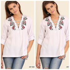 UMGEE Off White Blouse Tunic Floral Embroidery V-Neck w/ Lace-Up Coverup S~M~L