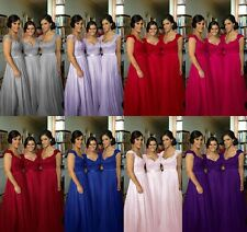 Plus Size 2-26W Cap Sleeve Chiffon Long Bridesmaid Gown Party Evening Prom Dress