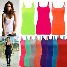 New Womens Ladies &Girls Stretchy Ribbed Vest Top Summer Rib Strap Top Size S-XL