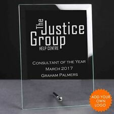 Personalised Logo Glass Plaque Trophy Award - Engraved Logo Trophies