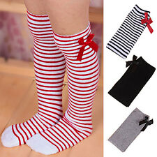 Girls Cotton Long Knee Socks Kids Baby Toddler Bowknot Striped Leg Warmers Eager