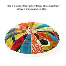 "22"" Round Kantha Decorative Floor Seating Cushion Pillow Throw Cover Bohemian Bo"