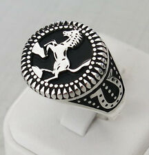 Handmade 925 Sterling Silver Horse & Horseshoe Silver Men's Woman's Ring