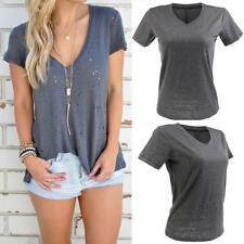 New Womens Stretch Fitted Deep V Neck Tee T-Shirt Ladies Short Cap Sleeve Top