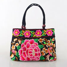 Ethnic Style Women Canvas Handbag Shoulder Bag Embroidered Casual Totes Shoppers
