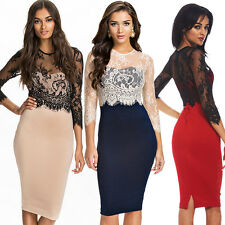 Sexy Trendy Womens Slim Bodycon Lace Gown Evening Cocktail Party Short Dress
