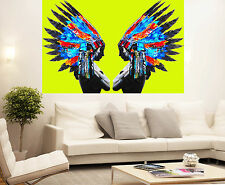 Huge Street Pop Art Indian Chief Feather Yellow Print  Painting Canvas Painting