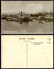 India Old Postcard River Scene Calcutta Steamers Ships Boats in Harbour Shipping