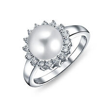 Bling Jewelry Freshwater Pearl 925 Sterling Silver Halo CZ Bridal Ring 9mm
