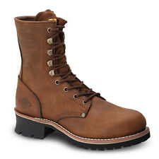 "Mens Brown 9"" Logger Oiled Leather Steel Toe Work Boots BAT-901 Size 5-13 (D, M)"