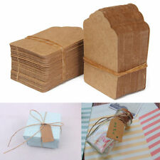 100pcs 5*3cm Brown Kraft Paper Hang Tags String Punch Label Price Gift Card ff