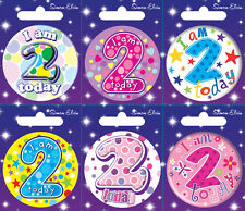 AGE 2 2nd BIRTHDAY BADGE PARTY GIFT PRESENT FOR BOY GIRL SMALL BADGE
