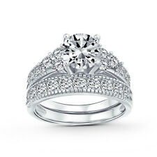 Bling Jewelry Gold Plated CZ Ring Set Sterling Silver
