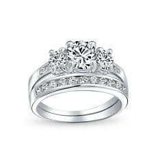Bling Jewelry 925 Silver Past Present Future CZ Engagement Wedding Ring Set