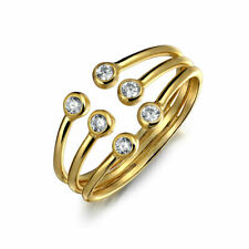 Bling Jewelry Gold Plated Silver Stackable CZ Open Tri Band Statement Ring