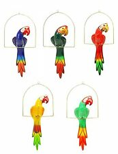 "Garden Patio Decor, Hanging Ceramic Bird, Multi-Color Macaw with Perch- 20""Tall"