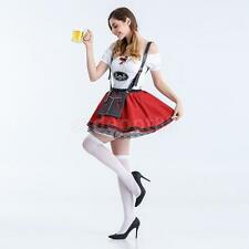 Red Oktoberfest Beer Maid Wench German Bavarian Heidi Fancy Dress Costume M L XL