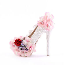 Womens Lace Flower Round Toe High Heel Platform Pearls Wedding Shoes Stilettos