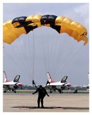 Photo Of US Army Golden Knight Paratrooper W/ USAF Thunderbirds In Background