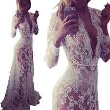 Plus Size Lady Lace Floral Boho Long Maxi Dress Party Wedding Ball Gown Costume