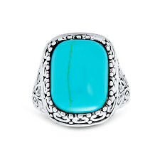 Bling Jewelry Filigree Reconstituted Turquoise Cocktail Ring Sterling Silver