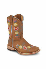 Kids Youth Almond Tan Rodeo Western Leather Cowboy Boots BONANZA 3201 Size 7-1.5