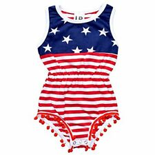 Baby Girls 4th of July Patriotic One Piece Outfit Infant Newborn First 4th month
