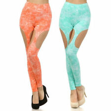 Leggings S M L Garter Cut Out Coral Mint Splatter Skinny Pants Stretch New Long
