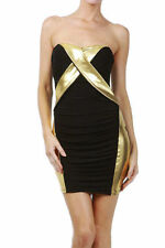Dress Sexy Club Cocktail Gold Metallic Strapless Womens New Mini Stretch Bodycon
