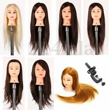 """26"""" 100% Real Hair Practice Training Mannequin Hairdressing Head + Clamp Salon"""