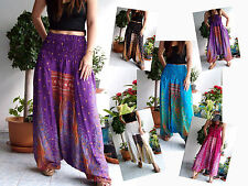 VERY LONG HAREM PANTS YOGA GENIE JUMPSUIT FEATHER HANDMADE 45""