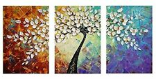 Hand Painted Knife Modern Canvas Wall Art Floral Oil Painting for Home Decor