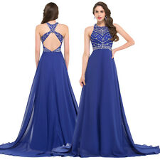 Long Chiffon Bridesmaid Formal Gown Ball Party Cocktail Evening Prom Dress Blue