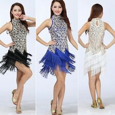 Latin Dance Dress Sequin Tassels Latin Skirt Salsa Ballroom Tango Samba Costume
