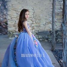 New Blue Applique Flower Girl Dress Pageant Party Dresses Ball Sleeveless Gowns