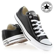 CONVERSE CHUCK TAYLOR ALL STAR WOMENS BLACK LEATHER CASUAL PLIMSOLLS TRAINERS