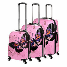 """20"""" 24"""" 28"""" 4 Wheel Pink Cabin Trolley Suitcase Hard Shell Travel Luggage"""