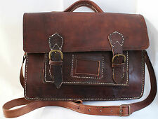 004 VINTAGE STYLE REAL GENUINE QUALITY LEATHER SATCHEL BAG BRIEFCASE BROWN ,