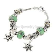 Snowflake Pendant Chram Beads Crystal Bangle Bracelet Women Girls Birthday Gifts
