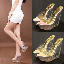 Womens Transparent Wedge High Heel Platform Open Toe Slippers Roman Sandal Shoes