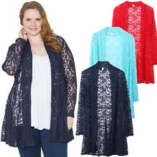 New Women's Plus Size Lace Crochet Cardigan Long Sleeve Floral Casual Loose Coat