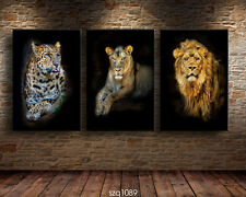 Modern Home Decor Canvas Painting HD Print Picture Art animal Leopard Lion 3pcs